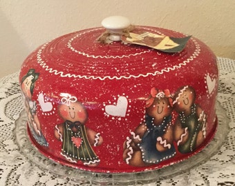 Gingerbread Cake Carrier Upcycled Vintage....Ginger Collector....Kitchen Decor...Country Kitchen...Country Home...Housewarming Gift