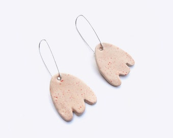 Mini Tulip Earrings -  Bright Ceramic Dangling Earrings with Sterling Silver Earwire