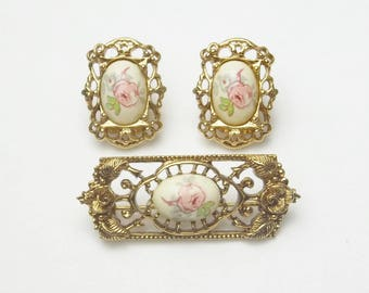 1928 Co Ceramic Pink Flower Gold Leaf Vintage Demi Parure 1960's Mid Century Costume Jewelry Brooch & Earrings Gift For Her on Etsy