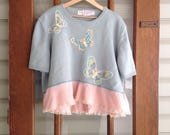 Reserved...XXL butterfly sweater, sage green spring cropped sweater, embelished sequined sweater, Upcycled clothing