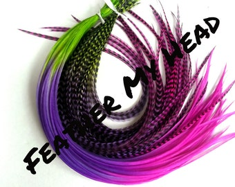 "Feather Hair Extensions - Multi Color Medium Length 7"" - 9"" (18-23cm) Long - 5 Pc - Green Purple Pink - Endless Summer"
