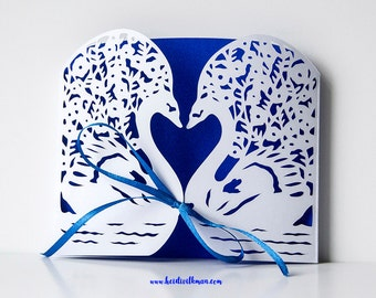 Swans Romantic Card, Valentines Paper Cut Card, Anniversary Card, Wedding Card, Personalised card