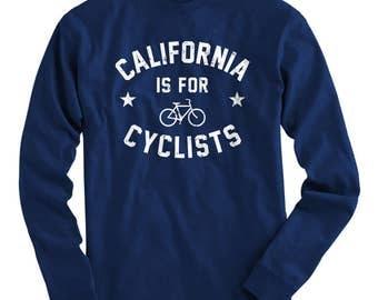 LS California is for Cyclists Tee - Long Sleeve T-shirt - Men S M L XL 2x 3x 4x - Bicycle Shirt, Cycling Shirt, California Shirt, Bike Shirt