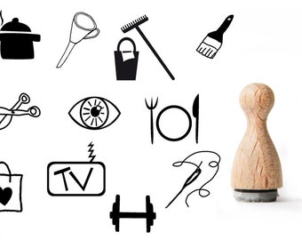 Tiny rubber stamp housekeeping, Cleaning Rubber Stamp, Cooking rubber stamp, Stiching rubber stamp, Eating rubber stamp
