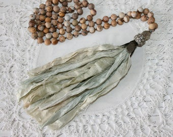 Boho necklace, Tassel Necklace, Sari Silk Tassel Necklace,  hand knotted, Matte Picture Jasper, gemstone beaded necklace