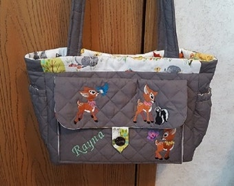 Personalized Bambi Diaper Bag Embroidered