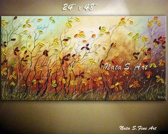 "Original Landscape Painting Colorful Autumn Artwork Fall Tree Art Palette Knife Impasto Modern Wall Decor Large Artwork 48""x 24""  by Nata S."