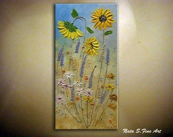 Sunflower Original Abstract Painting Modern Textured Artwork Wildflower Daisy Palette Knife Impasto Colorful Art Home Wall Decor by Nata S.