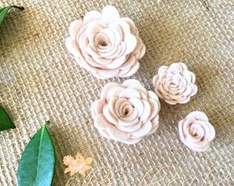 Felt Flowers -  Blush Pink - Tiny Felt Flowers  Handmade - Fashion Accessory - Craft Supplies - Felt Flower Brooch - Craft Wreath Flower (4)