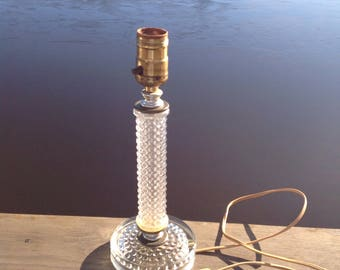 Vintage Glass Small Table Lamp / Accent Lamp / Vanity Lamp