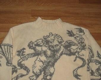Rare Vintage 1990s Express Angel Floral Rave Oversized Crewneck Hand Knit Sweater