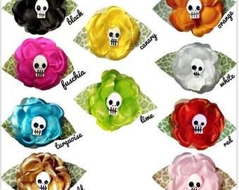 Skull Rose Hair Flower