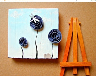 CLEARANCE SALE Modern 3D Art Block for Home Decor--Mixed Media Art-Paper Rosette, Dragonfly and Snail in the Garden-Sapphire Blue Home or Of