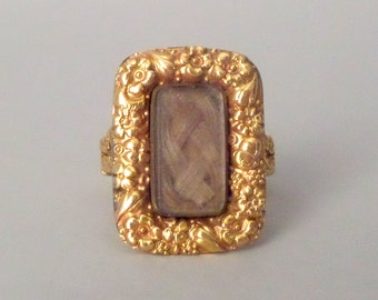 RESERVED / layaway final payment / Antique Mourning Ring with Hair. Late Georgian / Early Victorian. Repousse Floral.