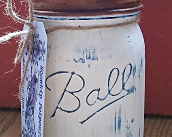 I pint  Fresh Bleuberry prim fixins in chalk paint mason jar