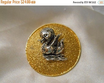 50% OFF SALE Tortolani Domed Textured Gold Tone Round Brooch With Silver Toned Duck