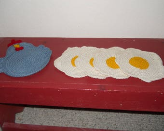 Chicken and Egg coasters - crocheted coasters - cotton coasters - cotton crocheted coasters - farm house decor - country decor - chicken dec