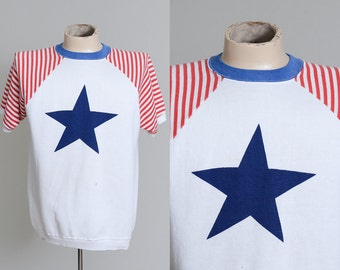 60s Star Spirit of 76 Red White and Blue 4th of July Short Sleeve Sweatshirt