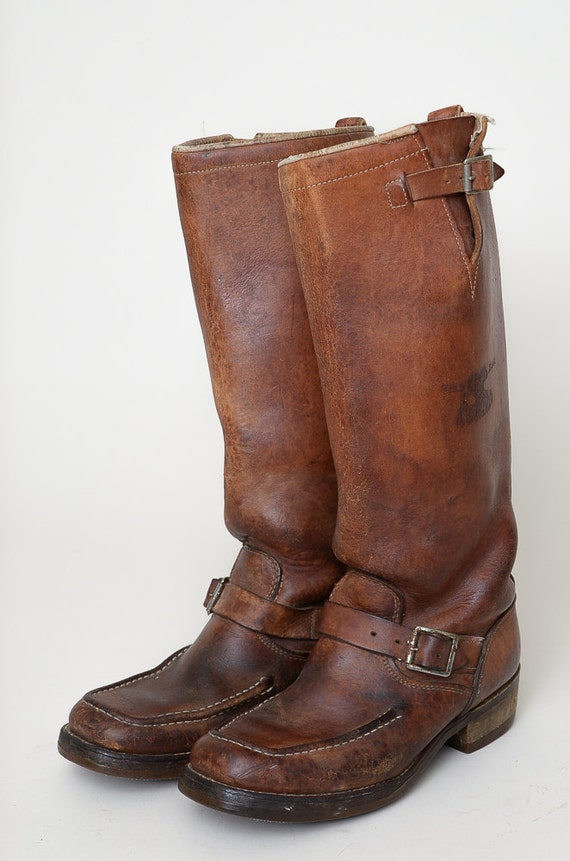 70s Engineer Snake Boots Brown Bullhide Leather Extra Tall