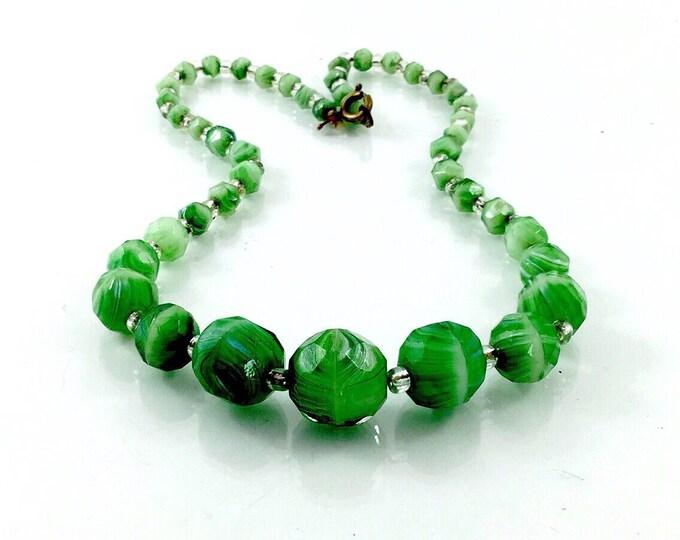 Rare Antique Czech Peking Glass Necklace. Molded Striped Green Glass Czech Necklace, emerald green glass. Unsigned Czechoslovakian bead.