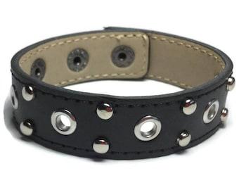 Eyelet Studded Black Leather Cuff, Round Eyelet Studded Black Leather Cuff Bracelet - Leather Bracelet - Studded Black Leather Bracelet Cuff