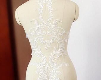 Delicate Wedding Lace Applique, Bridal Gown Applique, Ivory Lace Applique, Floral Embroidery Lace Applique