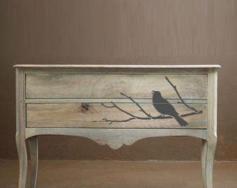 Blackbird Branch Stencil,  Birds and branches Stencils from The Stencil Studio. Washable, reusable stencils for furniture and home decor.