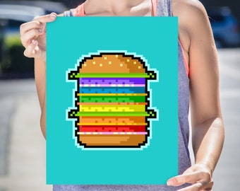 Burger Art Print, High Quality Art Poster, Home Decor, Wall Art, Poster Design, Illustration - Pixel Hamburger