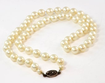 "Vintage Wedding Jewelry - 23"" Imitation or Costume Pearl Necklace with Silver 950 Clasp, Japan"
