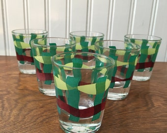 Green and Brown Gingham Plaid Shot Glasses match Vernon Kilns Set of 6 Vintage Barware
