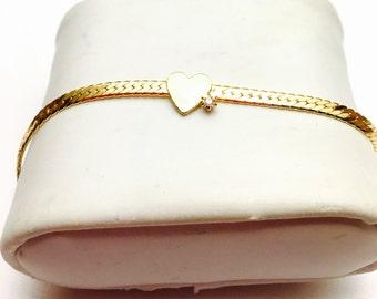 Vintage heart Bracelet, Gold Tone, clear rhinestone, Retro Accessory, Clearance Sale, Item No. B119