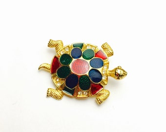 Turtle Brooch, Silver Tone, Multicolor Enamel, Animal Figural, VIntage Brooch, Clearance Sale, Item No. B313