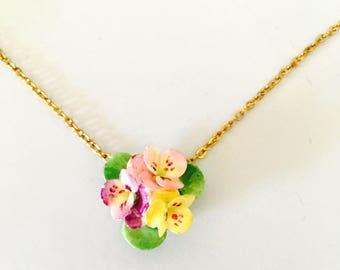 Vintage porcelain Flower pendant, Multicolor Color Porcelain Flower, Gold Tone, HALF OFF SALE, Item No. B258