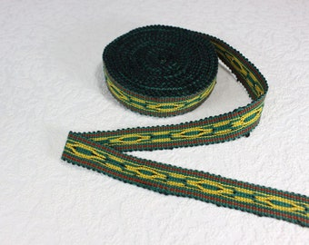 Woven Trim (6 yards), Woven Border, Cotton Ribbon, Grosgrain Ribbon, Dress Border, Border Trim, R193