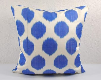 Ikat Pillow, Blue Ikat Pillow Cover MPI11, Ikat throw pillows, Designer pillows, Decorative pillows, Accent pillows