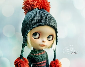 FRUIT CANDY Carrot Ooak Pom Pom HELMET For Blythe By Odd Princess Atelier, Hand Knitted, Winter Collection