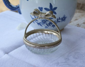 Vintage Silver and Pressed Glass Basket, Cottage Chic Basket, Vintage Ring Holder, Country French Home Decor