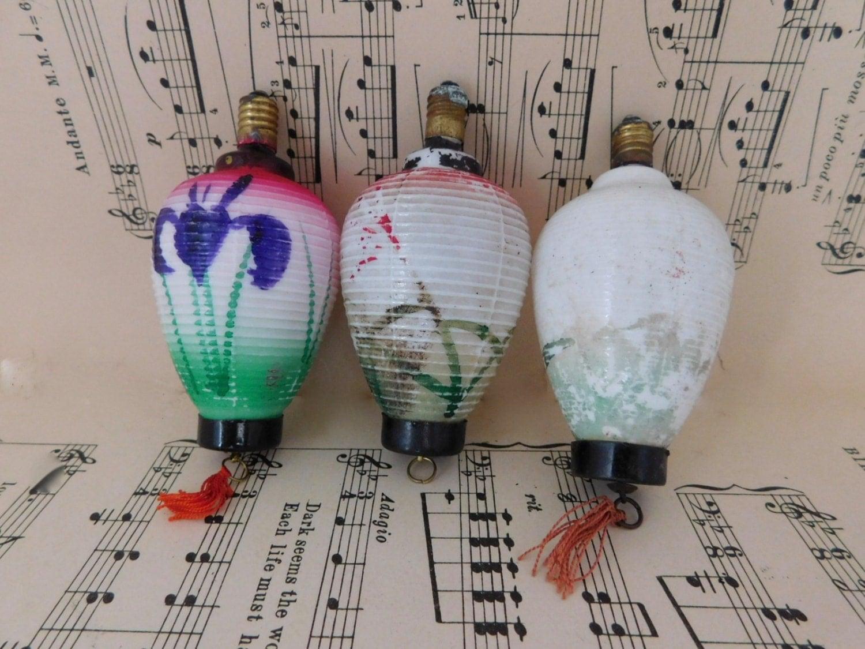 vintage 1950s christmas japanese lantern bulbs three 3 hand painted milk glass vintage christmas decor japanese christmas light decor - Vintage Christmas Light Bulbs
