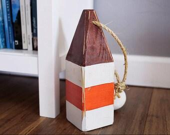 "Beach Decor, 11"" Old-style float buoy, Broun, Orange, Vintage, Nautical, by SEASTYLE"