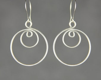 Sterling silver wiring double Hoop Earrings Bridesmaid gifts Free US Shipping handmade Anni designs