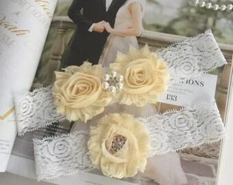 Bridal Garters, Ivory Garters, Wedding Garters, cottage garters, wedding Accessories. Ligueros de novia