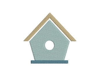 Embroidery design machine birdhouse instant download