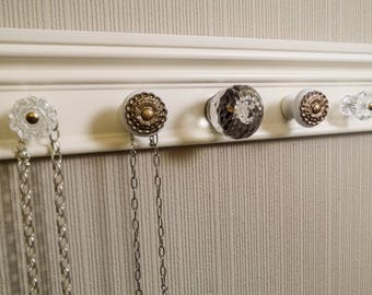 YOU CHOOSE 5 7 or 9 KNOBS jewelry wall rack.This necklace holder has a super large glass & bronze knobs on off white.Storage /decor.