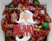 SALE Mesh Wreath Christmas,  Santa Wreath,  Deco Mesh Wreath, Merry Christmas Wreath