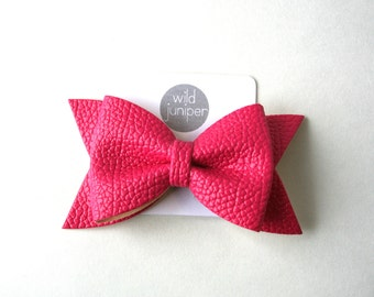 Hot Pink Faux Leather Bow Hair Clip