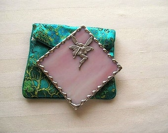 Stained Glass Purse Mirror|Pocket Mirror|Fairy|Fairy Mirror|Pink|Bath & Beauty|Makeup Tool|Handcrafted|Made in USA
