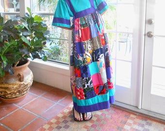 Vintage Krist Gudnason patio dress maxi dress designer California iconic 1970's house dress loungewear resort beach: medium
