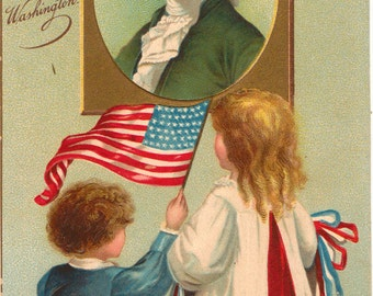 Vintage Postcard, George Washington, Patriotic, Boy Waving Flag, 1909