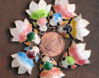 Tiny cloisonne fish charms