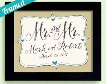 Mr and Mr Gay Wedding Gift Personalized Wedding Gift Engagement Gift For Gay Couples His and His Mens Names Gift They Can Share